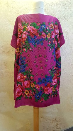 Tunique-Soul-of-Women-fleurs-multicolores-Rose-vif