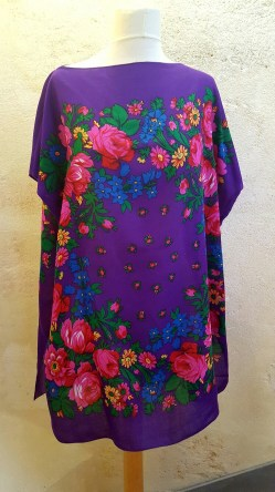 Tunique-Soul-of-Women-fleurs-multicolores-violette